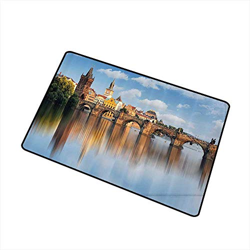 Mdxizc Door mat Wanderlust Decor Collection Charles Bridge in Prague Czech Republic Reflection on River Towers Forest Landmark Scenery W24 xL35 Super Absorbent mud Ivory Blue