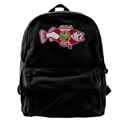Florida FL Bass Fish Unisex Classic Canvas Travel School Backpack Fits 14 Inch Laptop