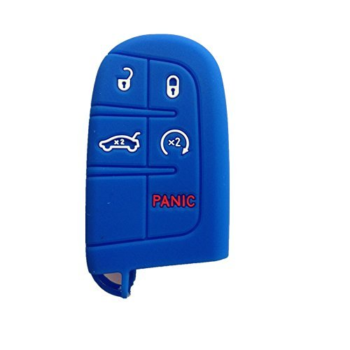 New Blue Silicone Keyless Remote 5 Buttons Smart Key Holder Chain Cover for Chrysler 300 Dodge Challenger Dodge Charger Dart Durango Journey Jeep Grand Cherokee Key Bag Jacket Fob