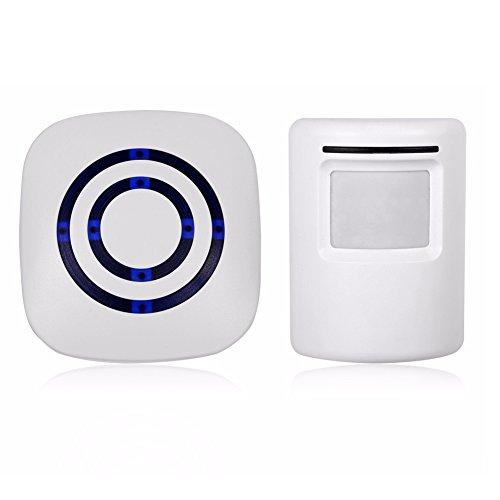 Home Security Motion Sensor Alarm Detector, Visitor Door Entry Chime Motion Sensor Alart with 1 Plug-in Receiver and 1 PIR Motion Sensor Detector Alert System Kit, Quality Sound & LED, 38 Melodies