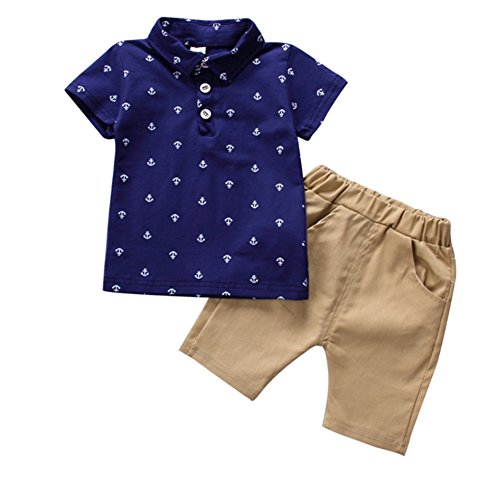 Weixinbuy Little Baby Boy Short Sleeve Lapel Shirt + Shorts Outfit 2 Pcs Clothes (And 1 Boys Shorts)