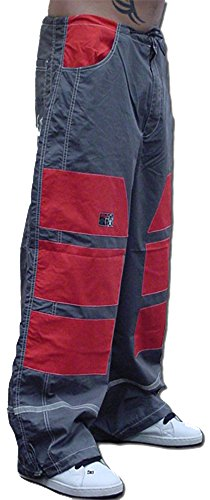 Ghast Unisex Cargo Drawstring Patch Rave Dance Pants, Charcoal w/ Red Patches X-Large