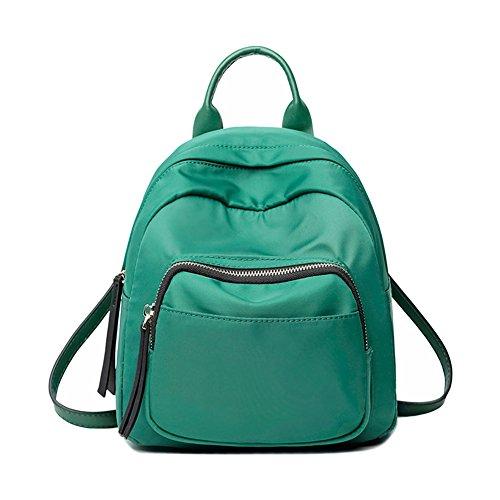 Majome Mochila pequeña simple de la lona de las mujeres del bolso de hombro de la mochila mini de la mochila de las mujeres Verde