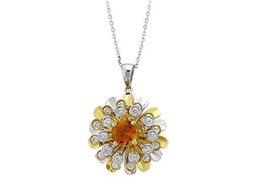 Collier de Diamants et Citrine-Femme- or Blanc 204P0014