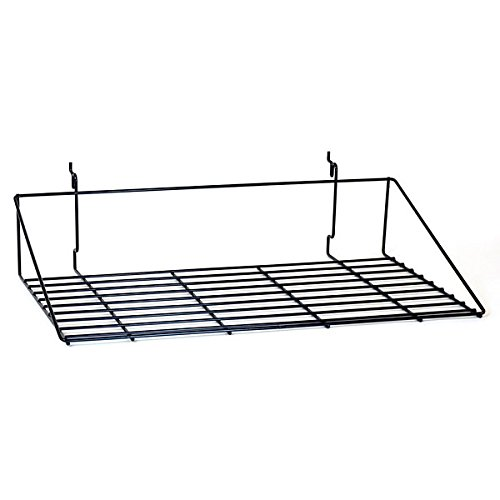 KC Store Fixtures A03062 Double Shirt Shelf Fits Slatwall, Grid, Pegboard, 23-1/2'' W x 13-1/2'' D, Black (Pack of 10)