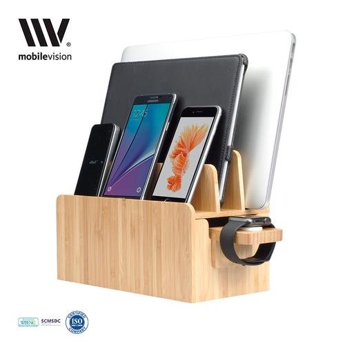 MobileVision Bamboo Charging Station & Apple Watch Adapter COMBO Multi Device Organizer for Apple Watch, Smartphones, Tablets, Laptops, and more