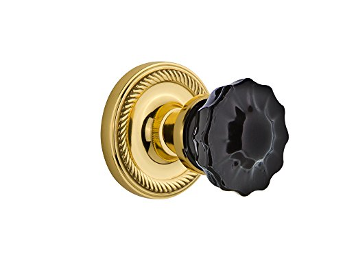 (Nostalgic Warehouse 727310 Rope Rosette Privacy Crystal Black Glass Door Knob in Polished Brass, 2.375)