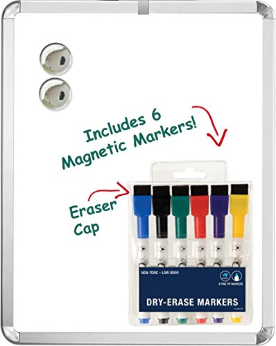 Magnetic 11'' x 14'' Dry Erase Whiteboard. Includes 6 Magnetic Dry Erase Markers - Assorted Colors. Great For Fridge - Locker - and More!