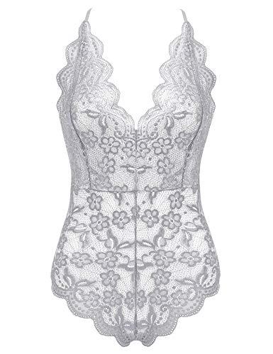 Women's Sexy Teddy Lace Lingerie One Piece Cross Back Bodysuit Outfits Babydoll S-XXL Gray