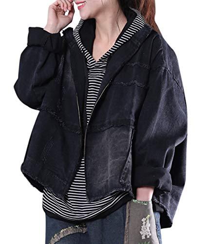 - YESNO WK8 Women Casual Crop Denim Jacket Boyfriend Full-Zip Jean Jacket Fringed Ripped Distressed/Pockets