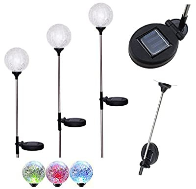 Bear Motion Crackle Glass Ball Path Light with Solar Light Color Changing LED for Garden Landscape Path Pathway Lights Lawn Lamp - (3-Pack)