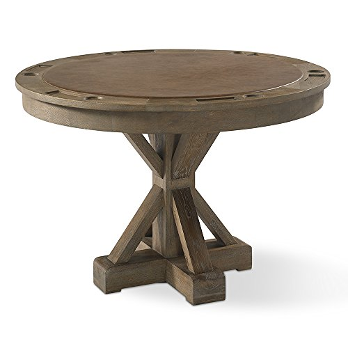 """Plank and Hide Gage Game Table with Reversible Dining Top - Made of Oak - Traditional Style Round Table - 60"""" Dia x 150"""" H - Burnished Oak"""