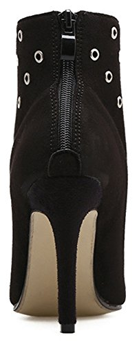 Side Boots Women's High Heeled Pointed Easemax Suede Faux Stylish Black Stiletto Ankle Studded Zipper Toe qXOdA0w