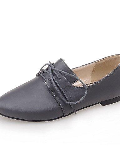 ZQ YYZ Zapatos de mujer-Tac¨®n Plano-Puntiagudos-Planos-Casual-Semicuero-Negro / Rojo / Gris , gray-us10.5 / eu42 / uk8.5 / cn43 , gray-us10.5 / eu42 / uk8.5 / cn43 gray-us5.5 / eu36 / uk3.5 / cn35