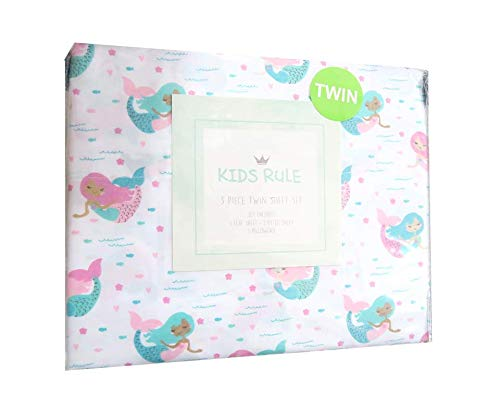 - Kids Rule Happy Pink and Teal Mermaid Sheet Set for Girls - 2 Sheets and Pillowcase Included (Twin)