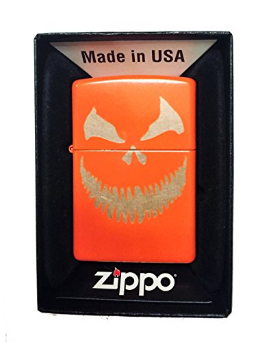 Zippo Custom Lighter - Scary Halloween Jack O Lantern Evil Smile Pumpkin Face - Regular Neon Orange -