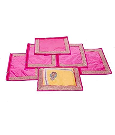 Kuber Industries trade; Single Packing Saree Cover Set of 6 Pcs  Designer Lace  Pink Clothes Covers