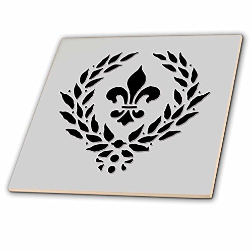 3dRose Fleur De Lis. French décor. Grey and black. - Ceramic Tile, 4-inch ()