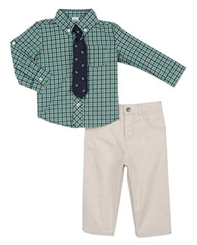 Little Me Plaid Dress Shirt - Little Me Little Boys Green Plaid Dress Shirt Tie and Pant Set 4T