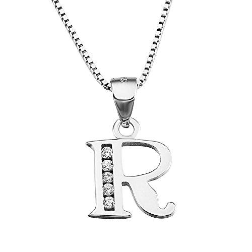 S925 Sterling Silver Cubic Zirconia 26 Letters Alphabet Personalized Charm Pendant Necklace (Alphabet R)