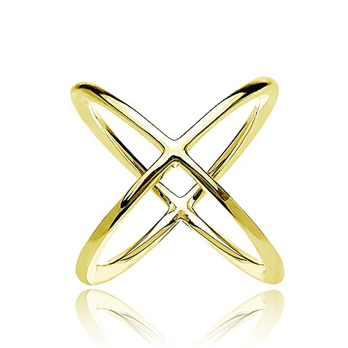 Gold Flash Sterling Silver Polished Criss-Cross X ()