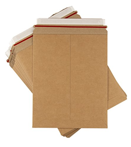 Rigid Mailers - 25-Pack Stay Flat Photo Document Mailers, Self-Seal Cardboard Envelope Mailers for Photos, Pictures, Documents, No Bend, Kraft Brown, 9 x 11 1/2 inches