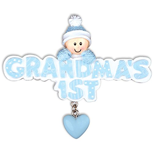 Personalized Grandma's 1st Christmas Tree Ornament 2019 - Baby Boy Knit Cap Mitten Glitter Blue Letters Dangle Heart Grandmother's Grand-Child New Born Kid Gift Year - Free Customization (Blue)