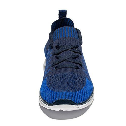 Ruash Erd Männer gestrickte Mesh Laufschuhe mit atmungsaktiver Mesh-Obermaterial und Gummisohle Navy blau