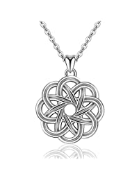 "EUDORA Retro 925 Sterling Silver Irish Lucky Celtic Knot Pendant Necklace for Women, 18"" Chain"