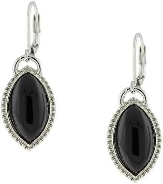 1928 Jewelry Silver-Tone Black Navette Drop Earrings