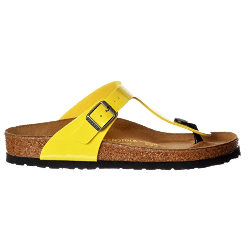 BIRKENSTOCK Classic Gizeh Birkoflor -Standard Fitting Buckled Toe Post Thong Style - Flip Flop Sandal Ice Pearl Onyx UK8 - EU41 - US10 - AU9 White Patent HbhyY4F