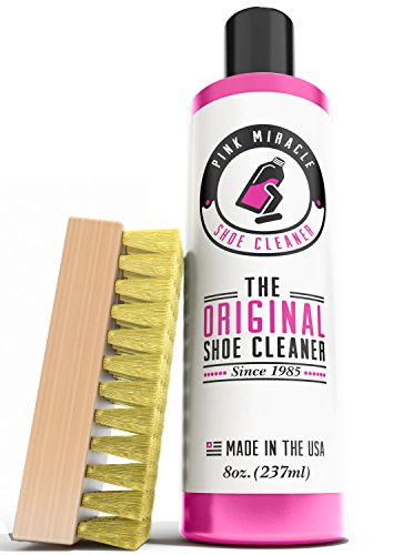 Pink Miracle Shoe Cleaner Kit 8 Oz. Bottle Fabric Cleaner For Leather, Whites, and Nubuck (Sneaker Cleaner)