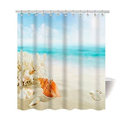 Amazon Gwein Beach Conch Starfish Shower Curtain Polyester