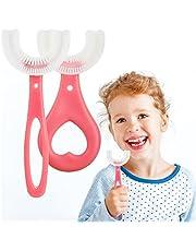 2 stks Kids U Shape Tandenborstel Food Grade Zachte Siliconen Borstel Hoofd 360 ° Orale Tanden Reiniging Hele Mond Tandenborstel voor 2-12 Jaar Oude Kinderen (Roze)