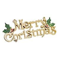 Guang-T Designs Merry Christmas Signs, Decorative Glittery Hanging Signs for Xmas - Gold Glitter with Holly Berries