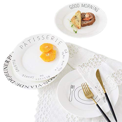 Ceramic White Breakfast Plates Set - Hand-Painted Saying Pattern Breakfast Plate 8 Inch 4 Piece Best Gift for Women By BANFANG (4 Piece)