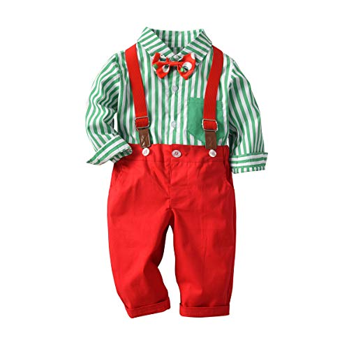 MHSH Baby Boys Gentleman Stripe Shirt with Bowtie and Pants Outfits Suits, Toddlers Suspender Overalls Clothes Sets (Green Stripe, 110#(2-3T))