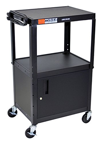 - Luxor Multipurpose Adjustable Height Steel A/V Utility Cart with Cabinet - Black