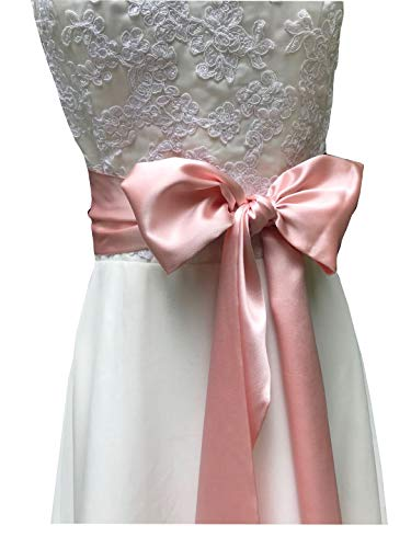 - Special Occasion Dress sash Bridal Belts Wedding sash 4'' Wide Double Side (Blush)