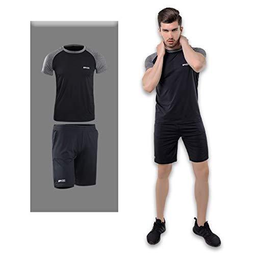 Zxl-yf Große Herren-Fitnessbekleidung Sportkleidung Zweiteilige Sommer-Gymnastik-Laufbekleidung (Farbe : Schwarz, größe : L)