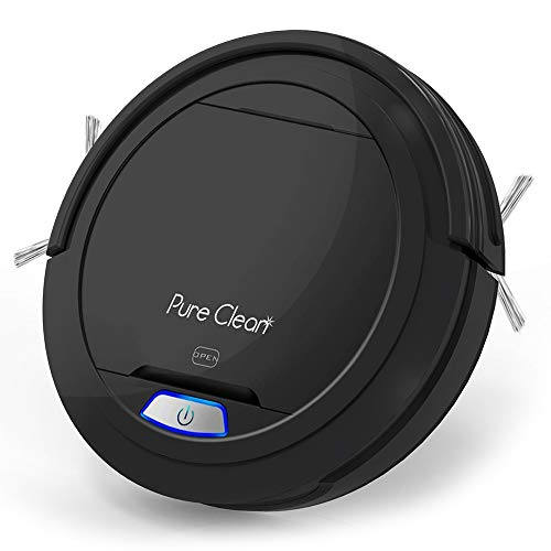 Pure Clean Robotic Vacuum Cleaner - Robotic Auto Home Cleaning for Clean Carpet Hardwood Floor - Bot Self Detects Stairs - Air Filter Pet Hair Allergies Friendly - PUCRC26B