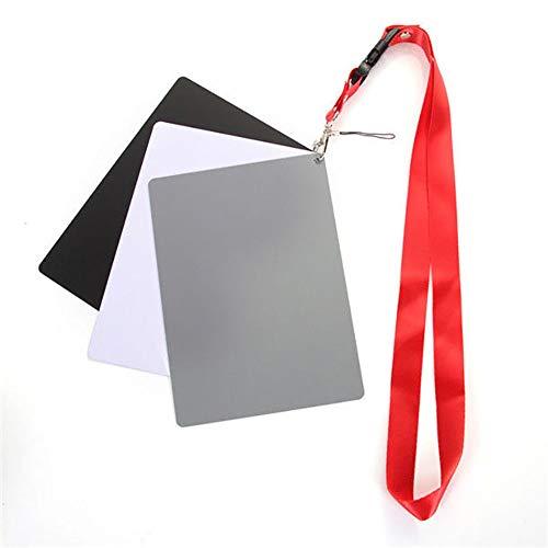 POTENCO Digital Camera 3 in 1 Pocket-Size White Black Grey Balance Cards Gray Card Neck Strap Digital Photography ()