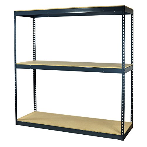 Storage Pro Garage Shelving Boltless, 3 Shelves, Particle Board Decking, Heavy Duty, 1950 Lbs Capacity, 60 W x 36 L x 72 H