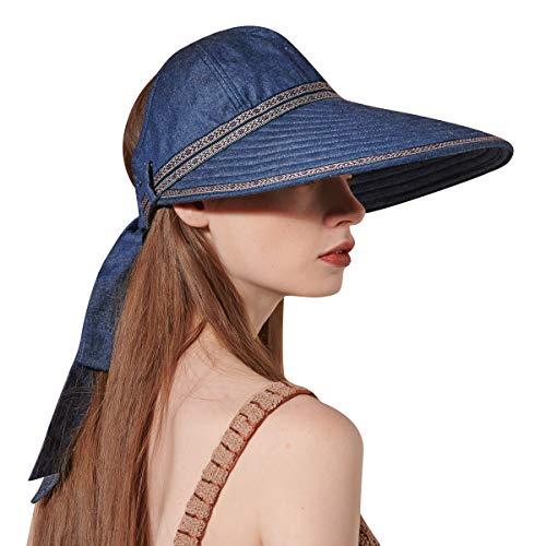 CACUSS Sun Hat Women's Cotton Large Brim Visor Packable Summer Beach Cap with Bowknot Adjustable UPF 50+