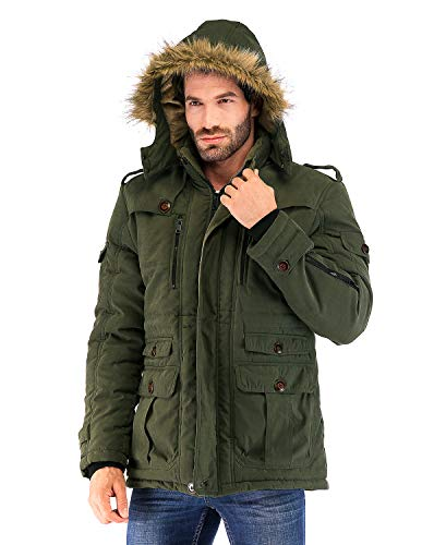 Yozai Mens Military Winter Coat with Multi Pockets and Detachable Fur Hooded Army Olive Green Medium