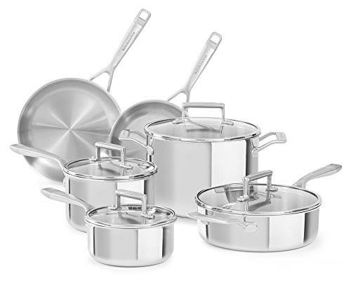 KitchenAid KC2TS10ST 10 Piece Tri-Ply Cookware Set, Stainless Steel Finish, -