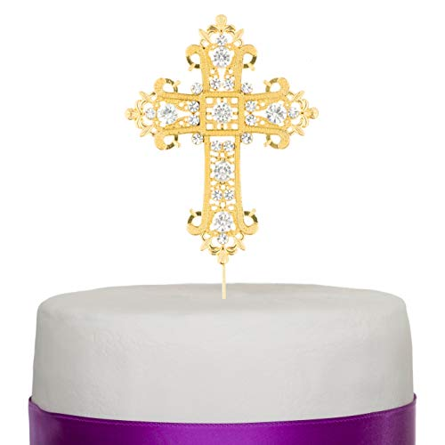 Ella Celebration Cross Cake Topper, Religious Wedding, Baptism, Christening, Dedication, First Communion, Christian Decoration - Cross Beautiful