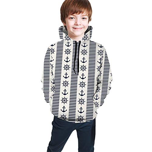 Teen Hooded Sweatshirts,Abstract Lines with Anchors and Helms Navigation On The Sea Sailing XL