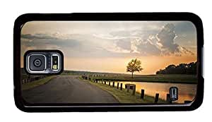Hipster cheap Samsung Galaxy S5 Case road sunset PC Black for Samsung S5