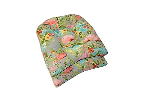 Tropical Cushion - Set of 2 - Universal Tufted U-shape Cushions for Wicker Chair Seat - Waverly Elegant Tropical Platinum Flamingo - Grey Aqua Green Coral